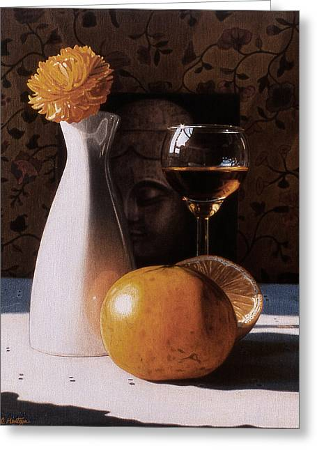 White Vase And Grapefruits Greeting Card by Daniel Montoya
