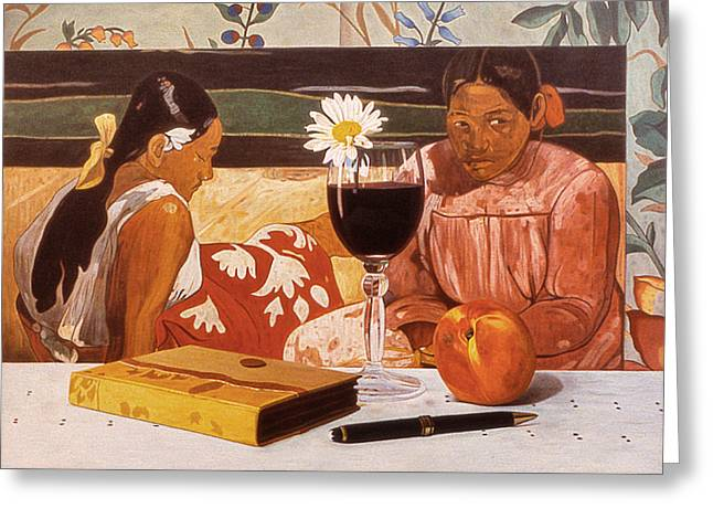 Wine Glass And Gauguin Greeting Card by Daniel Montoya