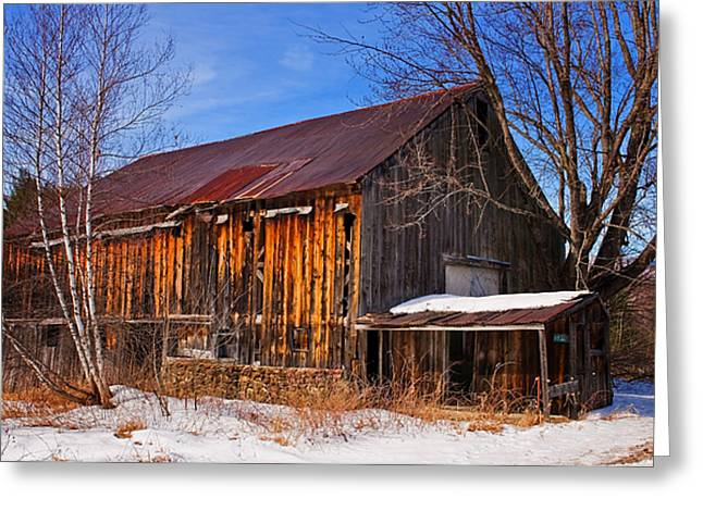 Winter Barn - Chatham New Hampshire Greeting Card by Thomas Schoeller