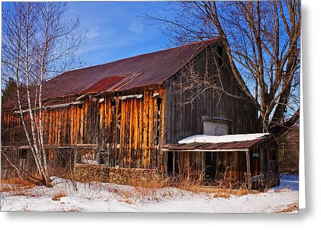 Winter Barn - Chatham New Hampshire Greeting Card