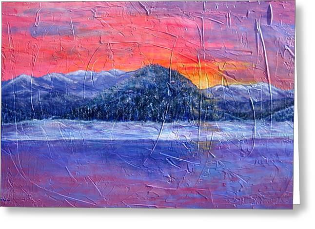 Winter Sunset Greeting Card by Sandy Hemmer