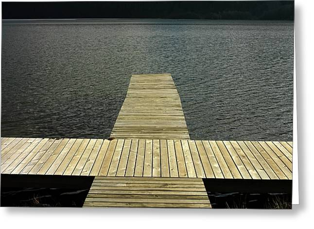 Wooden Pontoon Greeting Card by Bernard Jaubert