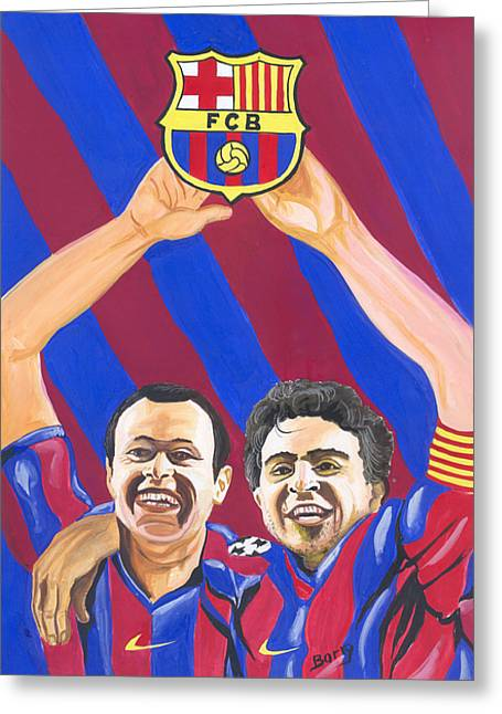 Greeting Card featuring the painting Xavi And Iniesta by Emmanuel Baliyanga