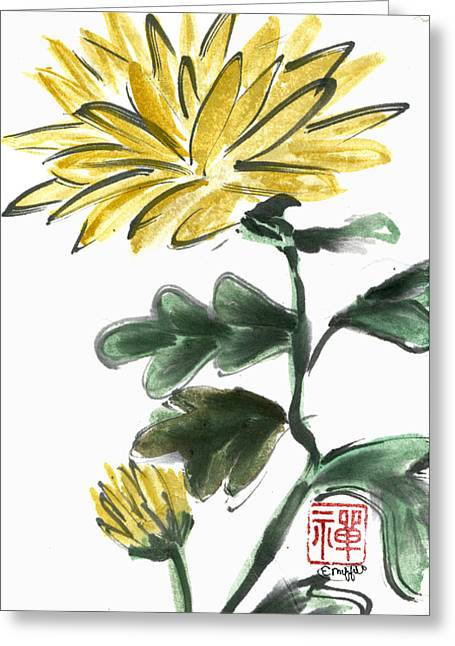 Yellow Chrysanthemum Greeting Card by Ellen Miffitt
