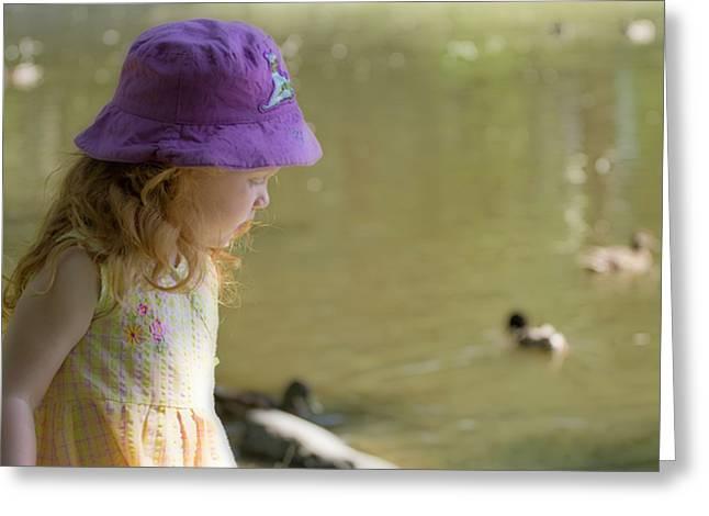 Young Girl Bird Watching Greeting Card