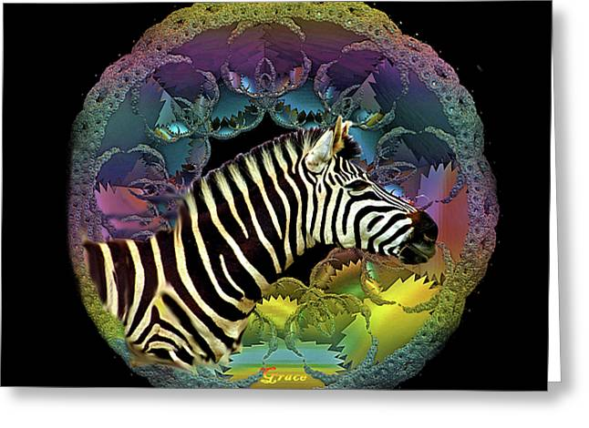 Zebra Greeting Card by Julie Grace