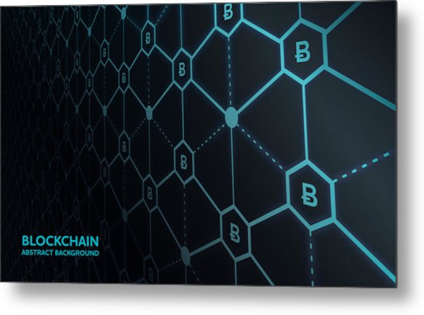 Abstract Blockchain Network Background Metal Print by AF-studio