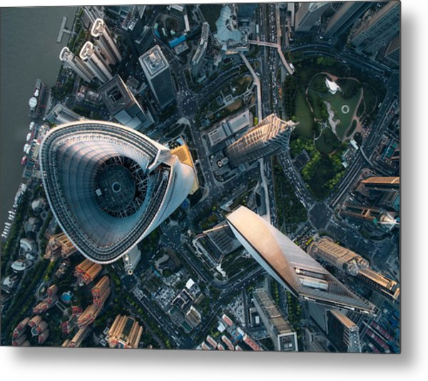 Aerial View Of Shanghai Metal Print by Ansonmiao