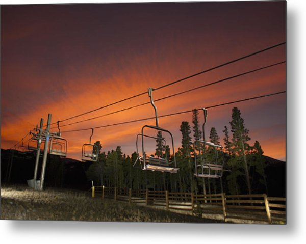 Breckenridge Chairlift Sunset Metal Print