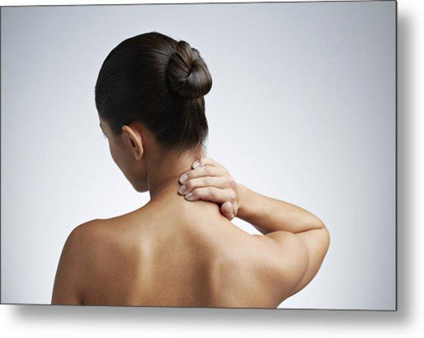 Close Up Of Woman Having Neck Pain Metal Print by Klaus Vedfelt