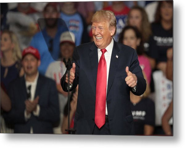 Donald Trump Holds Rally, Campaigns For Troy Balderson, In Ohio Metal Print by Scott Olson