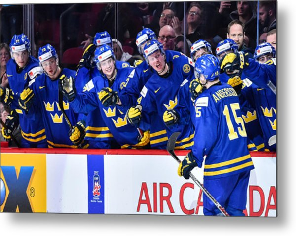 Finland V Sweden - 2017 IIhf World Junior Championship Metal Print by Minas Panagiotakis