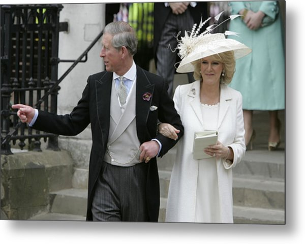 Hrh Prince Charles & Mrs Camilla Parker Bowles Marry At Guildhall Civil Cer Metal Print by Georges De Keerle