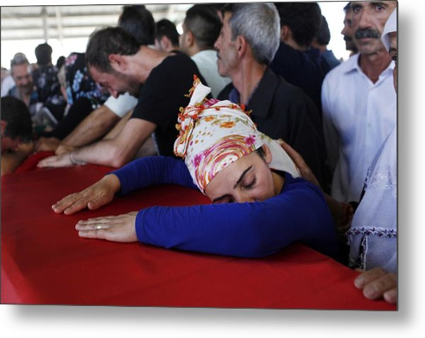 Mourners Attend The Funerals Of Those Killed In The Turkish Bomb Blast Metal Print by Gokhan Sahin