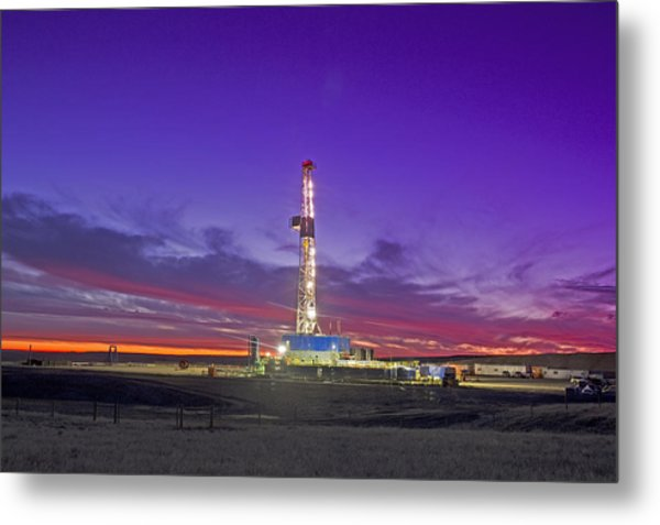 Oil Fracturing Drilling Rig At Dusk Metal Print by Rich LaSalle