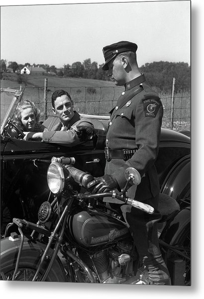 1930s Couple In Convertible Coupe Metal Print