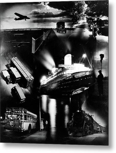1930s Montage Of Transportation Images Metal Print