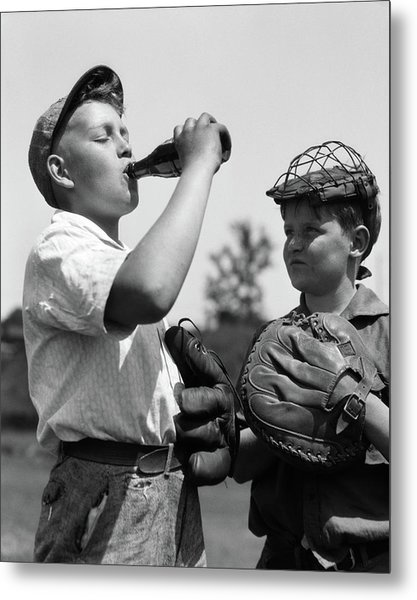 1930s Pair Of Boys Wearing Baseball Metal Print