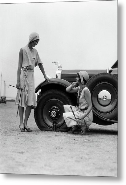 1930s Two Women Confront An Automobile Metal Print