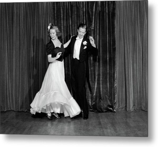 1940s Couple Man And Woman In Formal Metal Print
