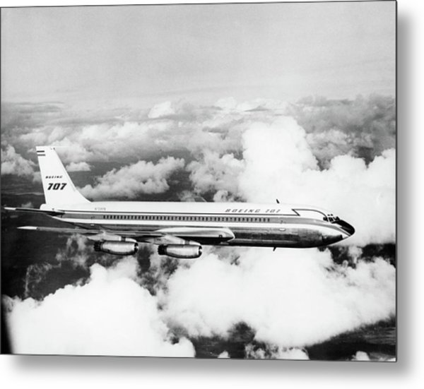 1950s Boeing 707 Passenger Jet Flying Metal Print