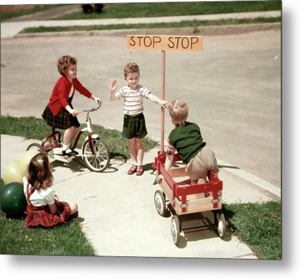 1950s Boys And Girls Outdoor Metal Print