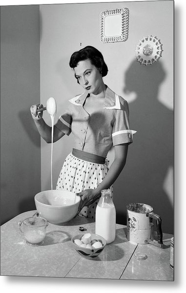 1950s Distracted Housewife Mixing Metal Print