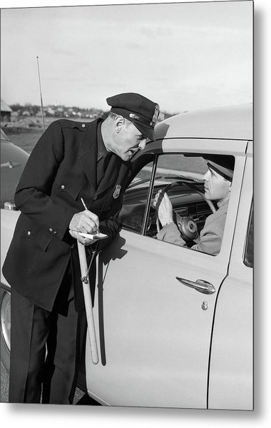 1950s Policeman With Stopped Motorist Metal Print