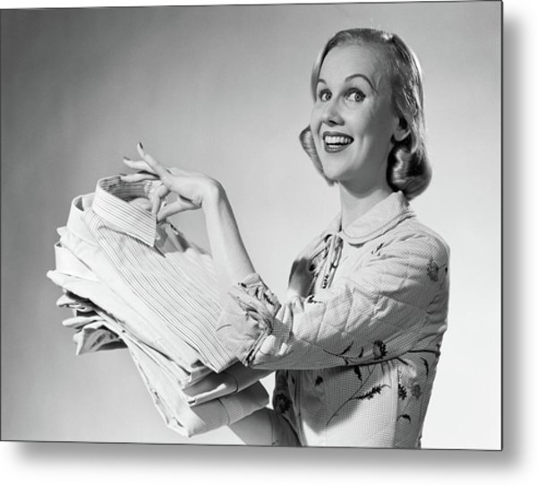 1950s Proud Smiling Woman Housewife Metal Print