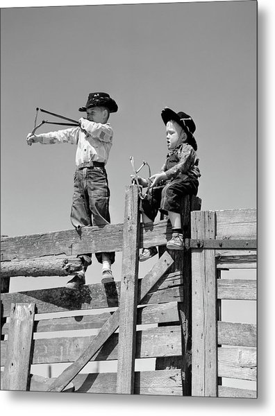 1950s Two Young Boys Dressed As Cowboys Metal Print