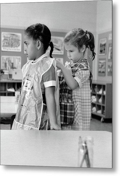 1960s Grade School Girl In Classroom Metal Print