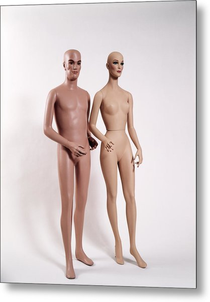 1970s Couple Man Woman Full Figure Metal Print