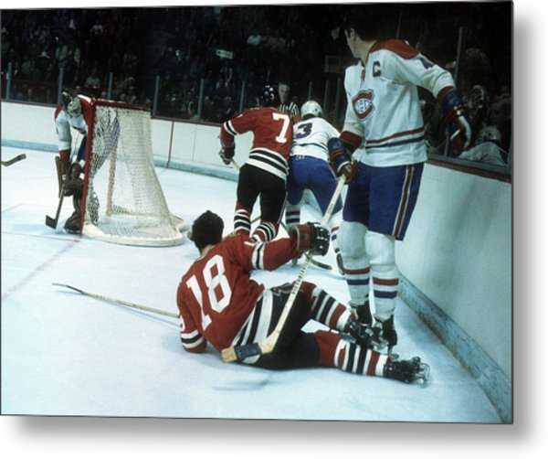 1971 Stanley Cup Finals:  Chicago Blackhawks V Montreal Canadiens Metal Print by Melchior DiGiacomo