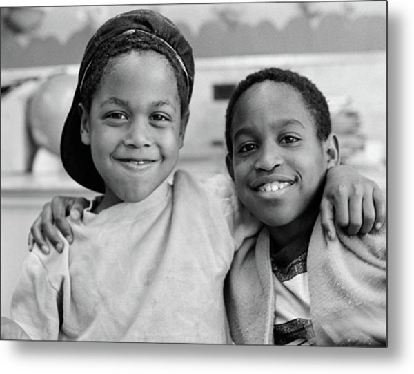 1980s Two African American Boys Smiling Metal Print