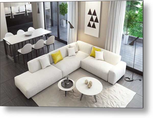 Fresh And Modern White Style Living Room Interior Metal Print by Tulcarion