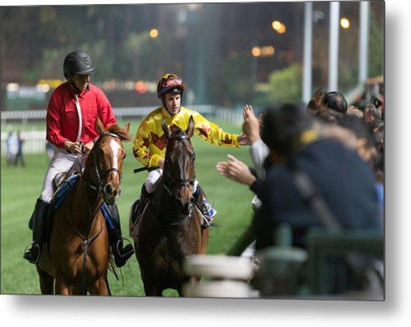 Horse Racing In Hong Kong - Happy Valley Racecourse Metal Print by Lo Chun Kit
