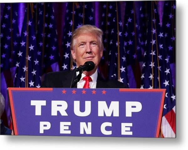 Republican Presidential Nominee Donald Trump Holds Election Night Event In New York City Metal Print by Chip Somodevilla