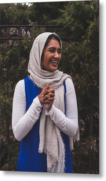 A Super Happy Muslim Girl In The Garden, Looking Away Metal Print by Muslim Girl