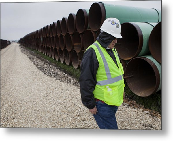 A Tour Of The Transcanada Houston Lateral Project Pipe Yard Metal Print by Bloomberg