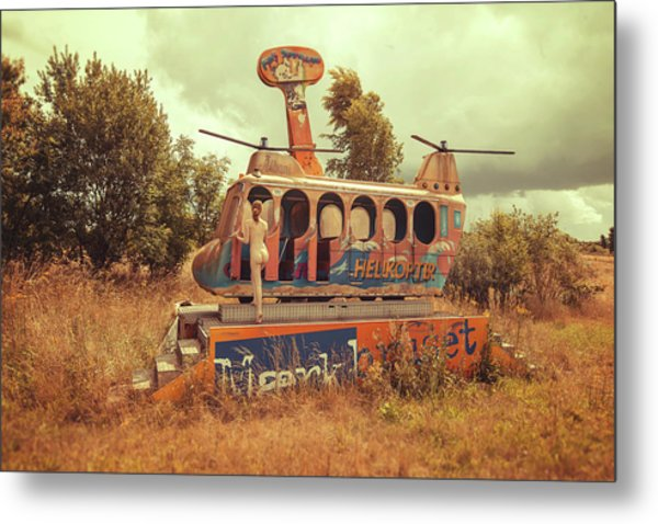 Abandoned Helicopter Metal Print