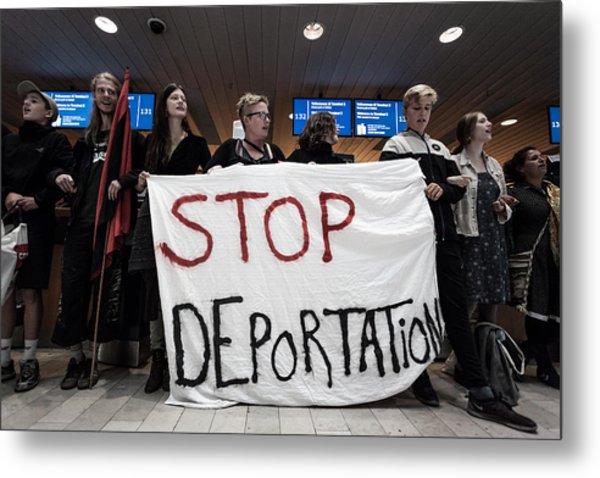 Activists Prevent Deportation Of Ugandan Asylum Seeker In Denmark Metal Print by NurPhoto