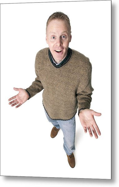 Adult Caucasian Man Dressed In Jeans And Green Sweater Gestures With His Hands Shrugs His Shoulders Metal Print by Photodisc