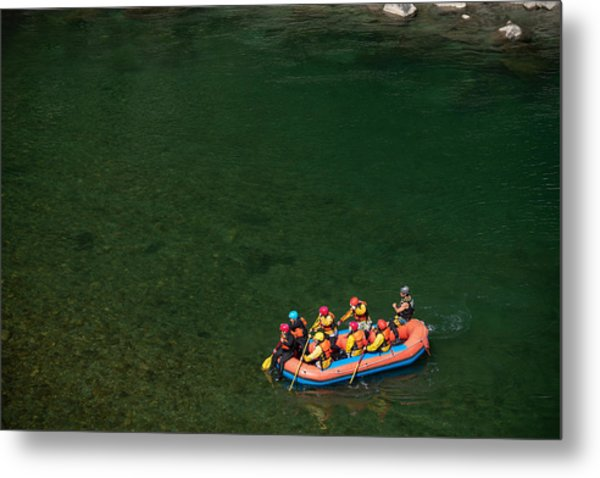 Aerial View Of A Group Men And Women Rafting In A Calm River Metal Print by Tdub303