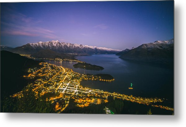 Aerial View Of Queenstown Cityscape At Night, New Zealand Metal Print by Lingxiao Xie