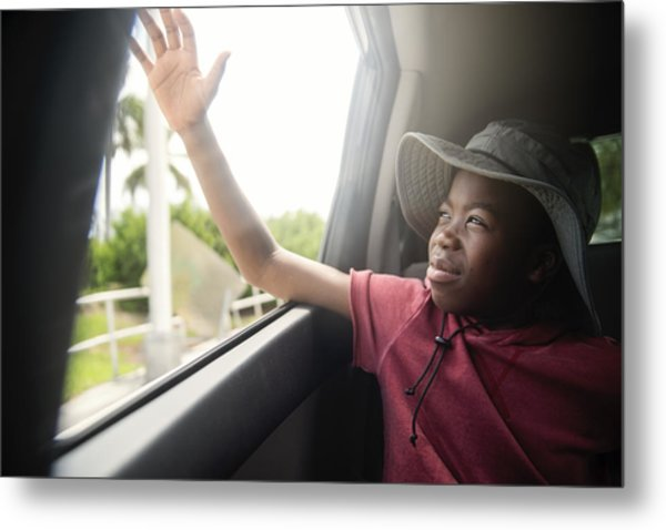 African-american Boy On The Back Seat Of A Car. Metal Print by Martinedoucet