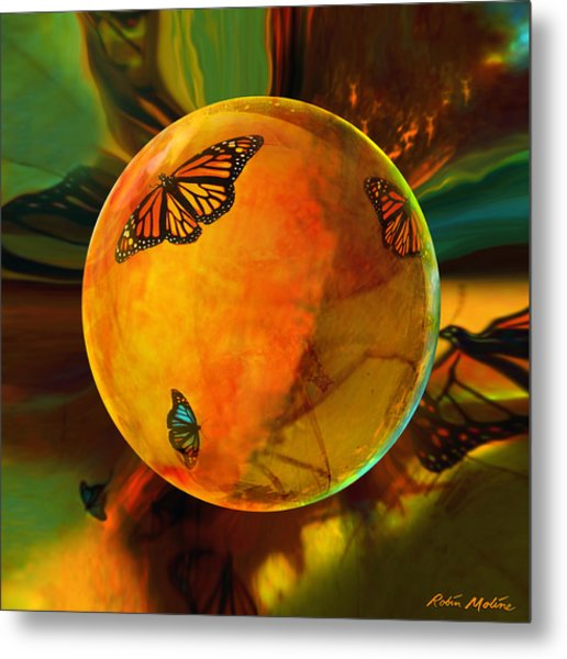 Ambered Butterfly Orb Metal Print