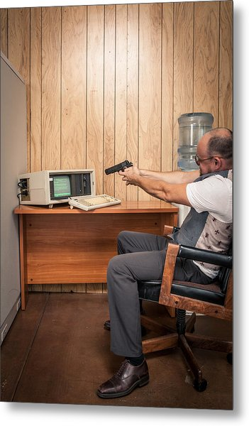 Angry Office Working Aiming Gun At Old Computer Metal Print by Sjharmon