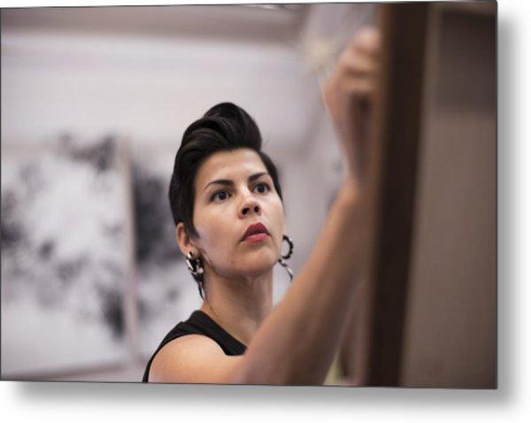 Artist Painting In Her Studio Metal Print by Scott Zdon