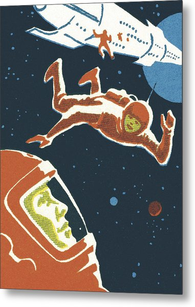 Astronauts In Outer Space Metal Print by CSA-Printstock