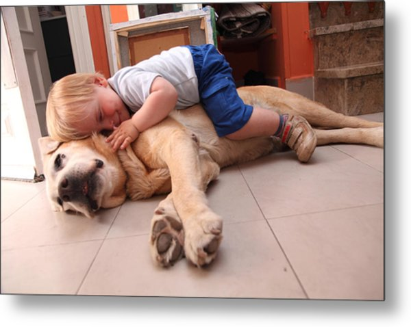 Baby On A Dog, Cares About Dog Metal Print by Aitor Diago